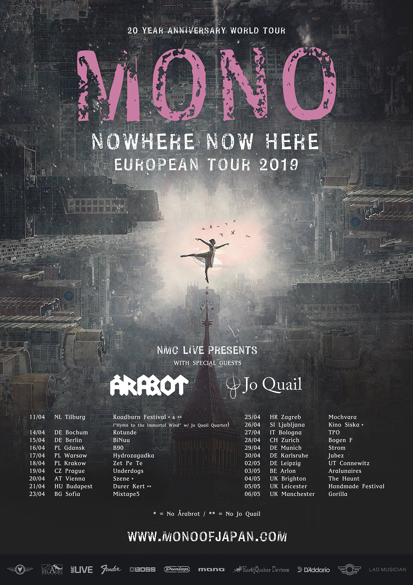 'Nowhere Now Here' European Tour with MONO and Arabrot April – May 2019