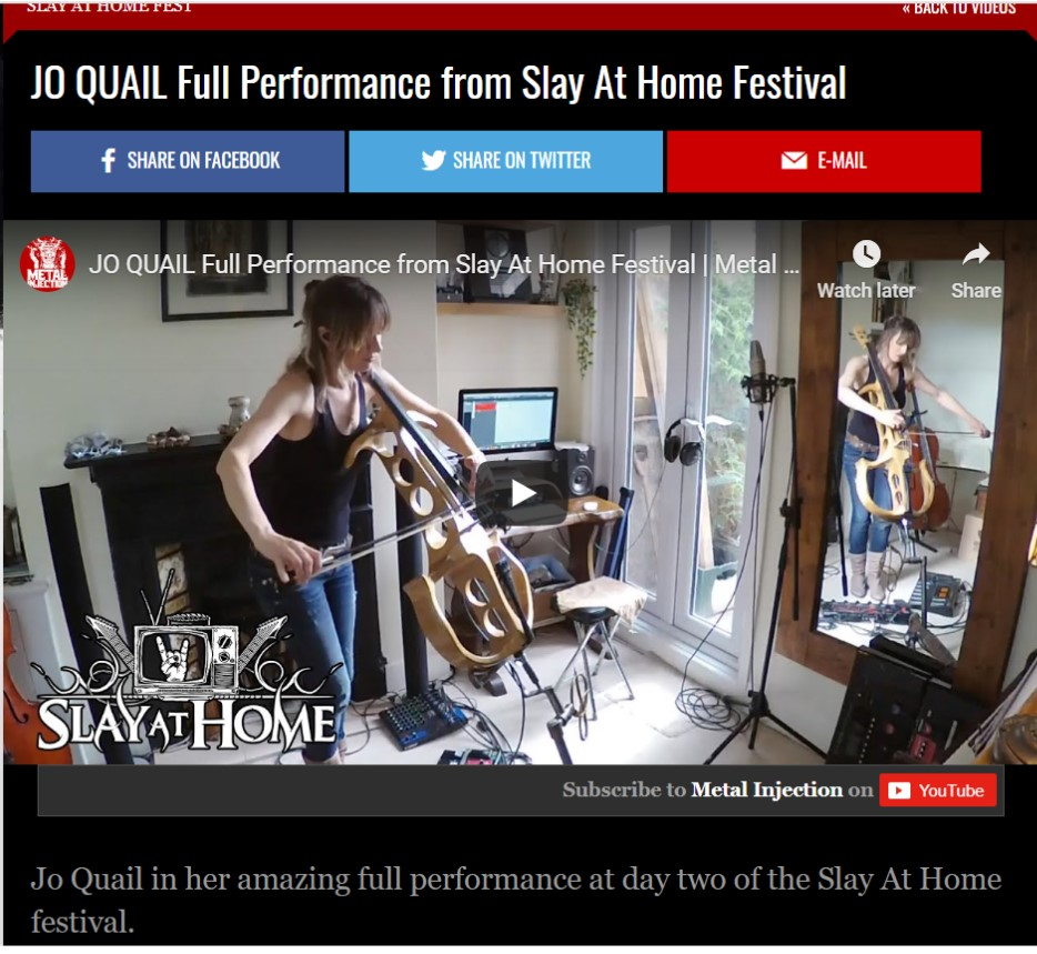 Two live videos from my performance for Slay At Home Festival – thank you Metal Injection for inviting me to play!