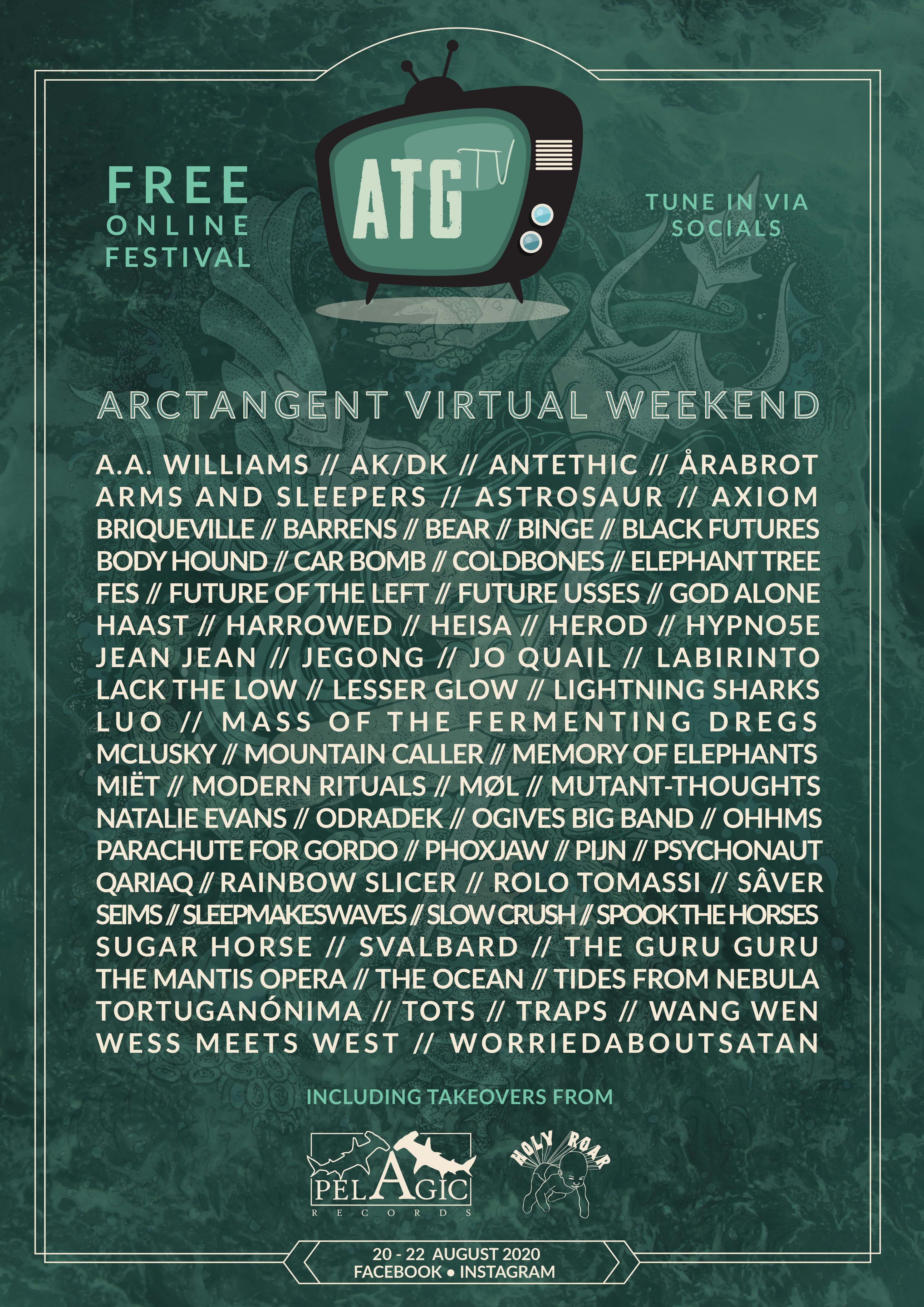 Sad not to be in the West Country next week but stoked that ArcTanGent is happening online!!  Really great line-up to be a part of – tune in 20th- 22nd for free!
